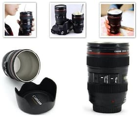 Coffee Lens Camera Mug Cup Flask With Cookie Holder Lid Black Plastic Cup (300ml)