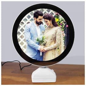 Gabbar Collage Photo Frame 12 LED Light System Round Magic Mirror Instrument For Couple Gifting