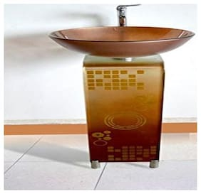 Colorfull Glass Basin with Mirror Steel Stand