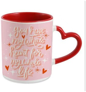 Coloryard Best Happy Valentines Day Gift Romantic-Lettering Design On Red Heart Inner Handle Ceramic Coffee Mug Gift