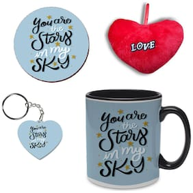 Coloryard Best Happy Valentines Day With Keychain, Coaster And Red Heart Gift Romantic Lettering Quotes Design On Black Inner Handle Ceramic Coffee Mug With Keychain, Coaster And Red Heart Gift