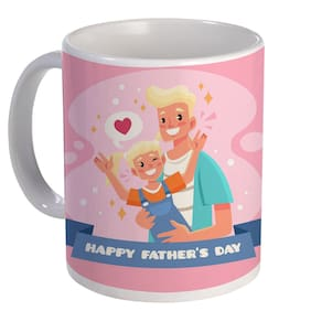 Coloryard Best Happy Fathers Day With Son And Father Design On White Ceramic Coffee Mug Father Day Gift