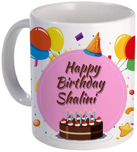 Coloryard Best Happy Birth Day Shalini With Cake;Balloons And Pink Color Design On White Ceramic Coffee Mug