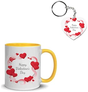 Coloryard Best Happy Valentines Day Gift Illustration Design On Yellow Inner Handle Ceramic Coffee Mug With Heart Keychain Gift