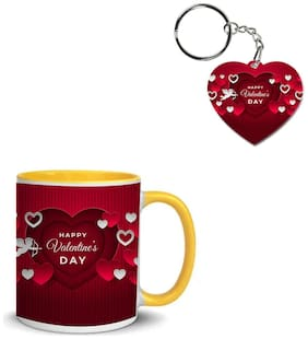Coloryard Best Happy Valentines Day Gift Flat Background Design On Yellow Inner Handle Ceramic Coffee Mug With Heart Keychain Gift