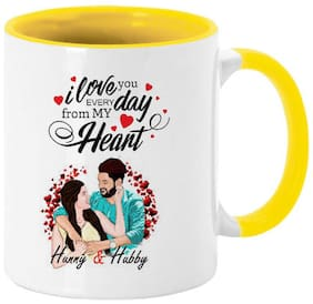 Coloryard Best Happy Karwa Chauth Love Quotes With Sweet Couple On Yellow Inner Handle Ceramic Coffee Mug Gift