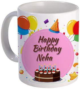 Coloryard Best Happy Birth Day Neha With Cake;Balloons And Pink Color Design On White Ceramic Coffee Mug
