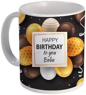 Coloryard Best Happy Birthday To You Babu With Yellow Balloons Stylish Design On White Ceramic Coffee Mug Gift