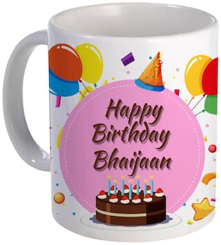 COLORYARD best happy birth day bhaijaan with Cake;Balloons and pink color design on white ceramic coffee mug gift