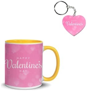 Coloryard Best Happy Valentines Day Gift Blurred Pink Background Design On Yellow Inner Handle Ceramic Coffee Mug With Heart Keychain Gift