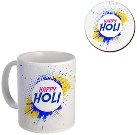 Coloryard Best Happy Holi With Abstract Holi Colors Background Design On White Ceramic Coffee Mug And Coaster Gift