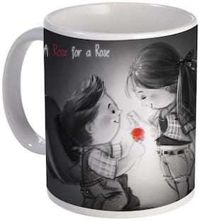 Coloryard Best Happy Rose Day With A Rose For A Rose Quote With Girl And Boy Design On White Ceramic Coffee Mug