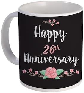 Coloryard Best Happy 26th Anniversary With Flower Design On White Ceramic Coffee Mug