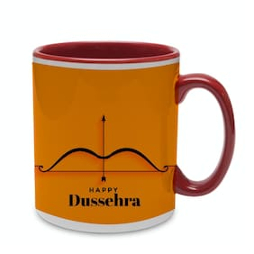 COLORYARD best happy dussehra design with yellow background on red inner handle coffee mug gift