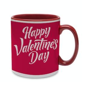 Coloryard Best Happy Valentines Day Gift Lettering Wth Maroon Inner Handle Text Design On Maroon Inner Handle Ceramic Coffee Mug Gift