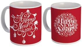 Coloryard Best Cute Happy New Year Mug Combo Design On Red and White Ceramic Coffee Mug Gift