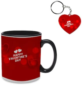 Coloryard best happy valentines day gift beautiful red bokeh background design on black inner handle ceramic coffee mug with heart keychain gift