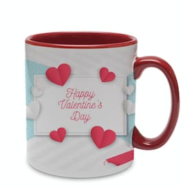 Coloryard Best Happy Valentines Day Gift With Red And Maroon Inner Handle Heart Design On Maroon Inner Handle Ceramic Coffee Mug Gift