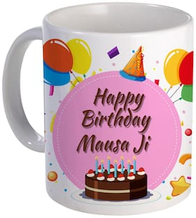 COLORYARD best happy birth day Mausa-Ji with Cake;Balloons and pink color design on white ceramic coffee mug gift