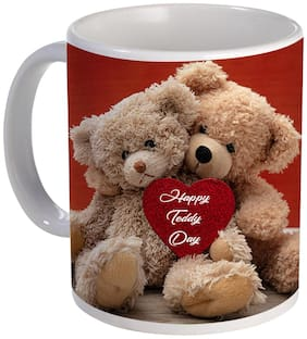 Coloryard Best Happy Teddy Day Couple Of Teddy With Heart Design For Valentine Day Gift On White Ceramic Coffee Mug