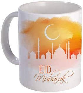 Coloryard Best Eid Mubarak Creative Mosque Design On White Ceramic Coffee Mug For Eid Gift