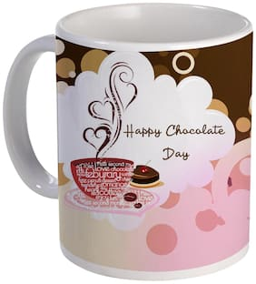 Coloryard Best Happy Chocolate Day With Smoked Heart Cup And Print On White Ceramic Coffee Mug