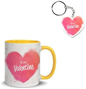 Coloryard Best Happy Valentines Day Gift Watercolor-Heart Background With Phrase Design On Yellow Inner Handle Ceramic Coffee Mug With Heart Keychain Gift