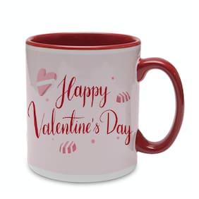 Coloryard Best Happy Valentines Day Gift Typography Design On Maroon Inner Handle Ceramic Coffee Mug Gift