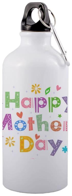 COLORYARD Aluminium White Water Bottle ( 600 ml , Set of 1 )