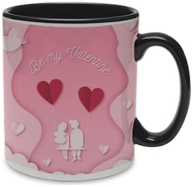 Coloryard Best Happy Valentines Day Gift With Couple Sitting Design On Black Inner Handle Ceramic Coffee Mug Gift