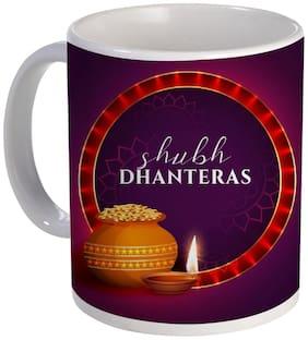 Coloryard Best Happy Shubh Dhanteras Festival Pot Design On White Ceramic Coffee Mug Diwali Gift