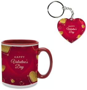 Coloryard Best Happy Valentines Day Gift With Golden Hearts Design On Maroon Inner Handle Ceramic Coffee Mug With Heart Keychain Gift