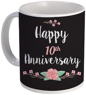 Coloryard Best Happy 10th Anniversary With Flower Design On White Ceramic Coffee Mug