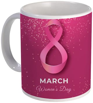 Coloryard Best 8Th March Happy Womens Day With Colored Background On White Ceramic Coffee Mug