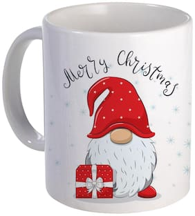 Coloryard best happy merry christmas with cute cheerful gnome with phrase design on white ceramic coffee mug gift