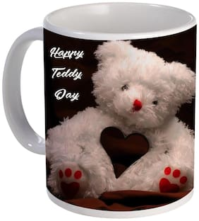 Coloryard Best Happy Teddy Day With White Teddy Heart Design For Valentine Day Gift On White Ceramic Coffee Mug