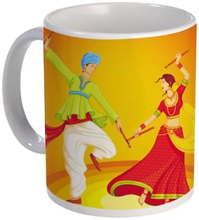 Coloryard Best Couple Playing Dandiya With Yellow Color Background