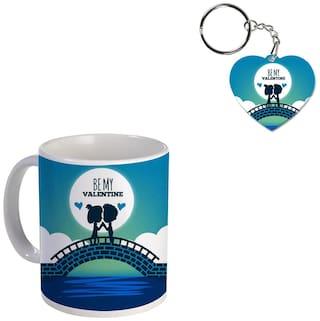Coloryard Best Happy Valentines Day Gift Be-My-Valentine-Illustration Design On White Ceramic Coffee Mug With Heart Keychain Gift