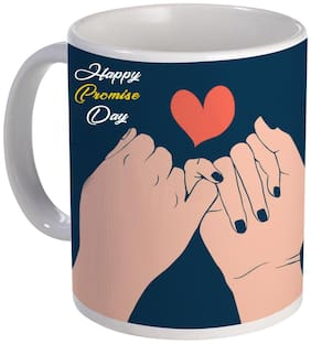 Coloryard Best Happy Promise Day Design With Hand For Valentine Gift On White Ceramic Coffee Mug