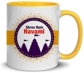 COLORYARD best ram navami background design on yellow inner handle coffee mug gift