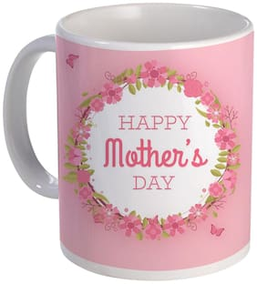 Coloryard Best Multi Color Happy Mothers Day Cute Design In Pink Design On White Ceramic Coffee Mug Mother Day Gift