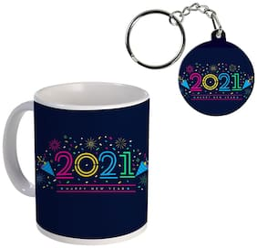 Coloryard Best Happy New Year Flat Design On White Ceramic Coffee Mug And Keychain Gift