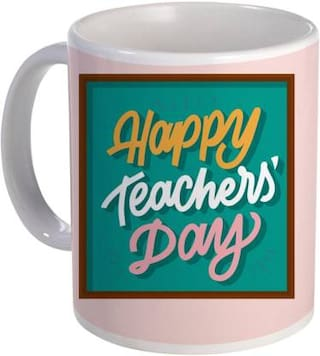 COLORYARD best teachers day text in square design on white ceramic coffee mug gift
