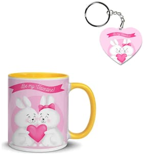 Coloryard Best Happy Valentines Day Gift Hand-Drawn Bunny-Couple Design On Yellow Inner Handle Ceramic Coffee Mug With Heart Keychain Gift