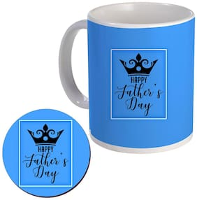 COLORYARD best happy father's day with black king crowns design on coaster and white ceramic coffee mug gift