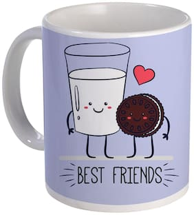 Coloryard Best Happy Friendship Day Oreo+Milk Best Friends Design Ceramic Coffee Mug Gift