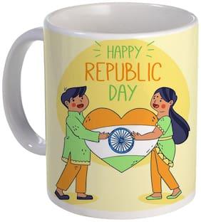 Coloryard Best Hand Drawn Indian Republic Day With Heart Flag Design On Ceramic Coffee Mug