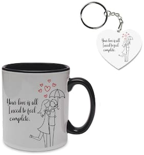 Coloryard Best Happy Valentines Day Gift With Romantic-Couple On Black Inner Handle Ceramic Coffee Mug With Heart Keychain Gift
