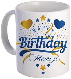 COLORYARD best happy birthday Mami ji with heart and star design on white ceramic coffee mug