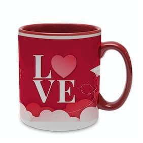 Coloryard Best Happy Valentines Day Gift Lovely Background Design On Maroon Inner Handle Ceramic Coffee Mug Gift